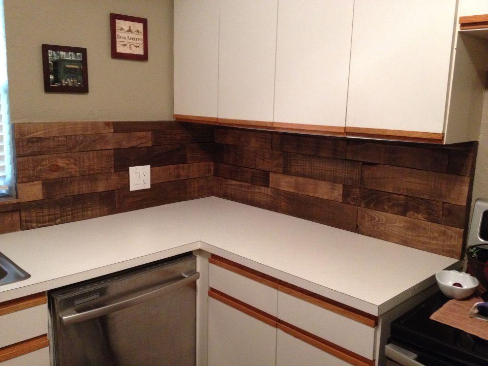DIY Kitchen backsplash using pallet wood, Minwax special walnut ...