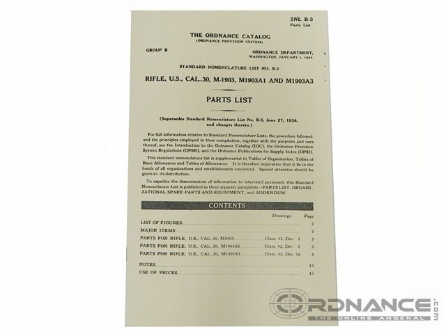 Details about The Ordnance Catalog SNL B-3 Parts List Dated