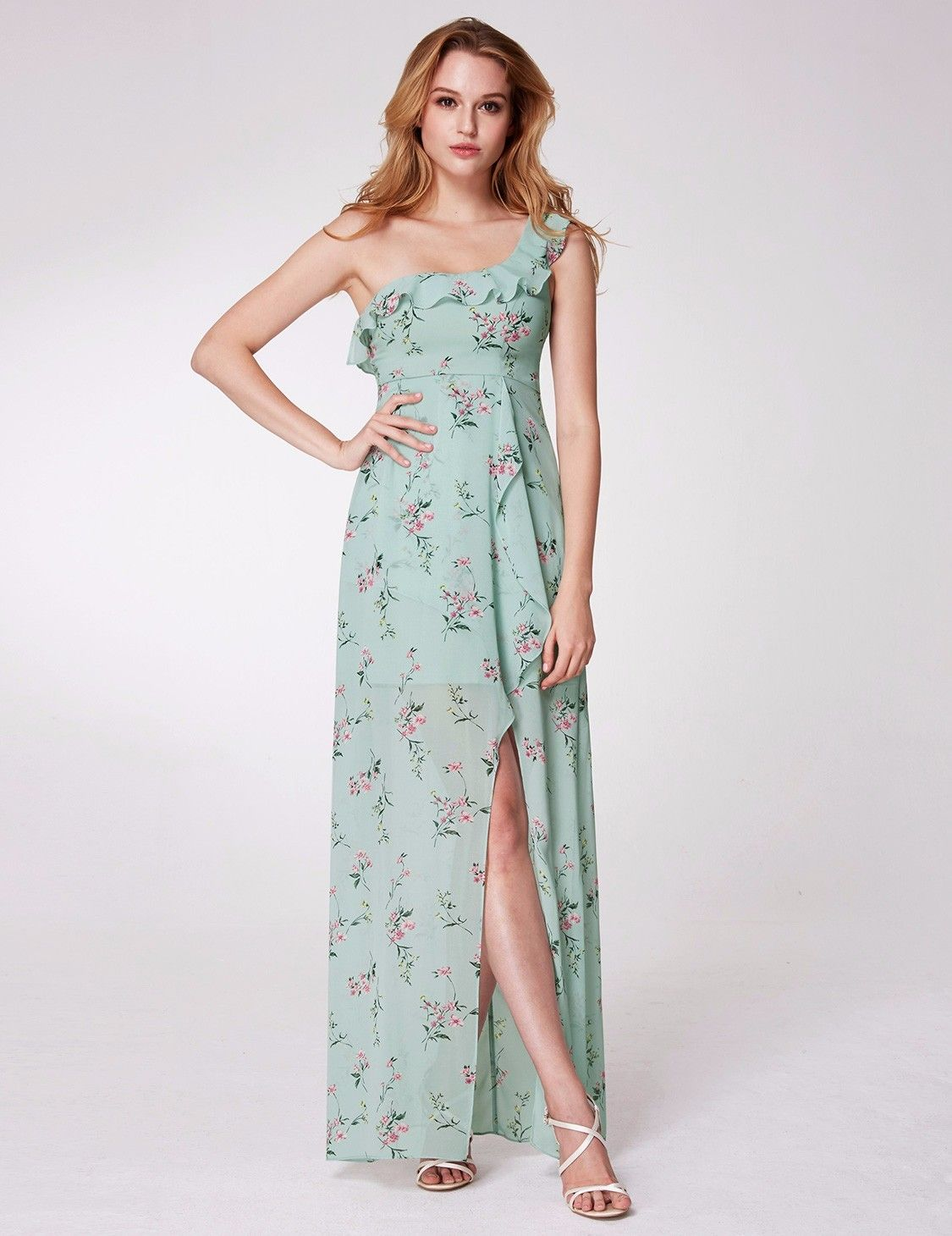Floral print wedding guest dress  One Shoulder Floral Print High Low Dress  Bridesmaids Dresses and