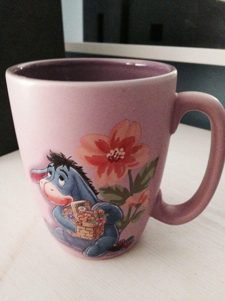 Disney Store Large EEYORE Coffee Mug Cup Easter Egg Flowers Basket Cute