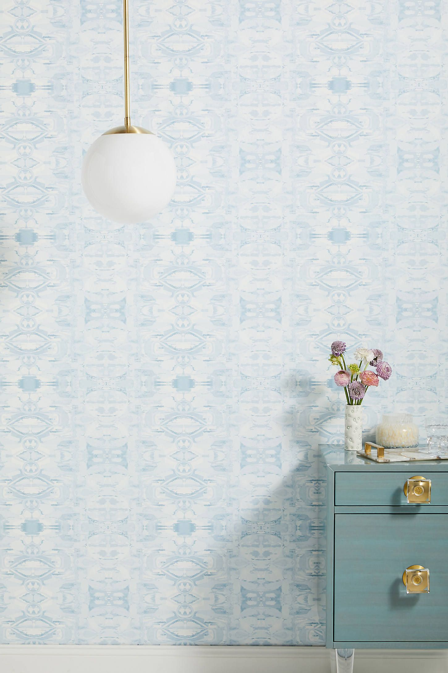 Illiana Wallpaper by Anthropologie in Blue, Wall Decor in
