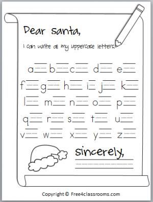 Free Santa Letter Writing Practice Students Write All The