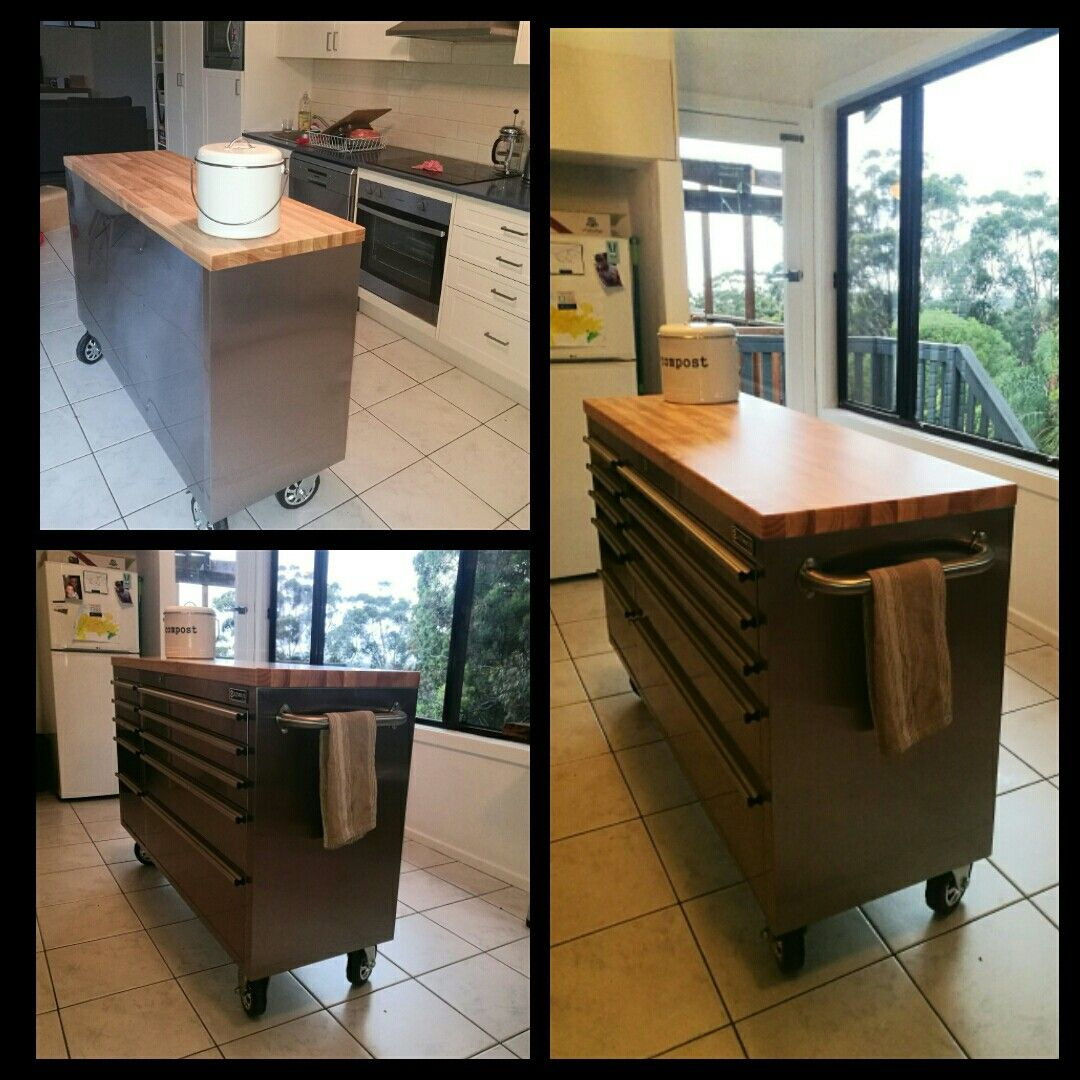 Kitchen Island Trolley Bunnings Bunnings Tool Trolley Turned Into A Kitchen Island Trolley Home