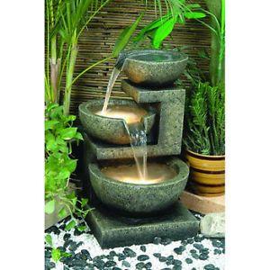 fontaine deau en cascade 3 bols avec lumires laval north shore greater - Fontaine A Eau Zen