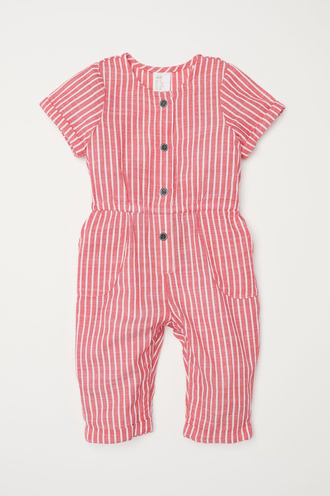 2b38e7be58 Short-sleeved romper suit - Red White striped - Kids