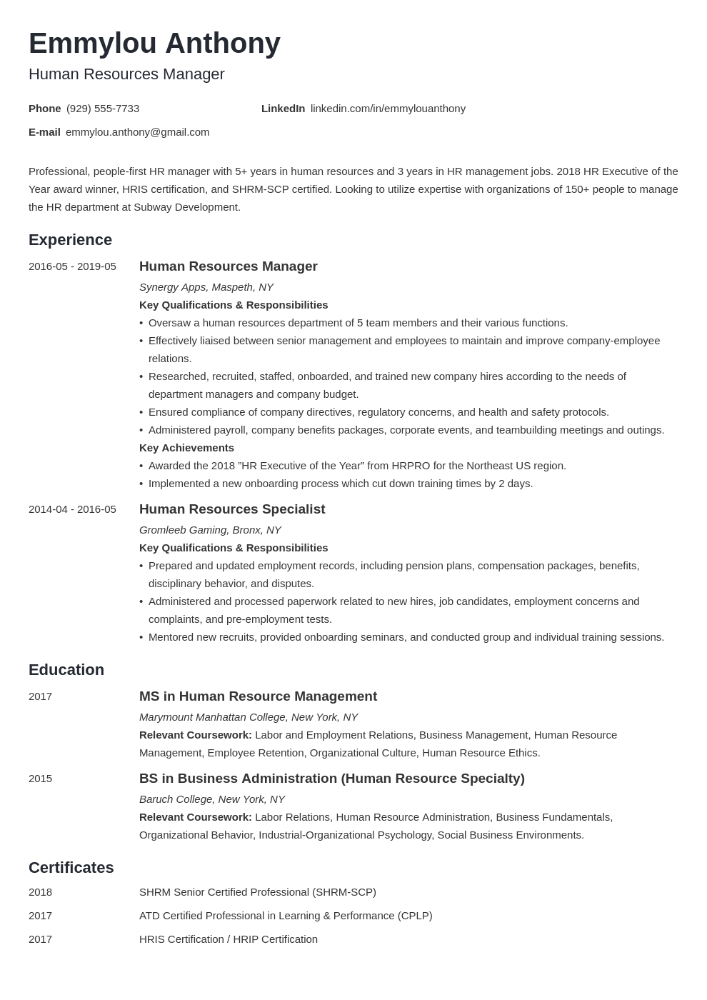 hr manager resume example template minimo in 2020 Hr