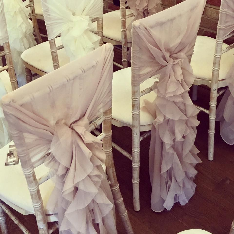 Chiavari Chair Dressed With A Dusky Pink Chair Hood And