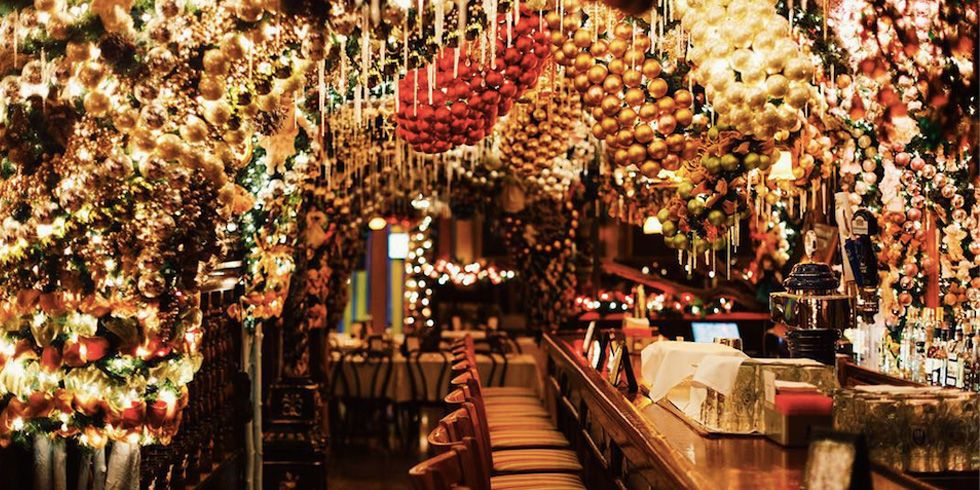 Every Year This Bar Spends 60 000 On Christmas Decorations Nyc Christmas Christmas Interior Design Christmas Interiors