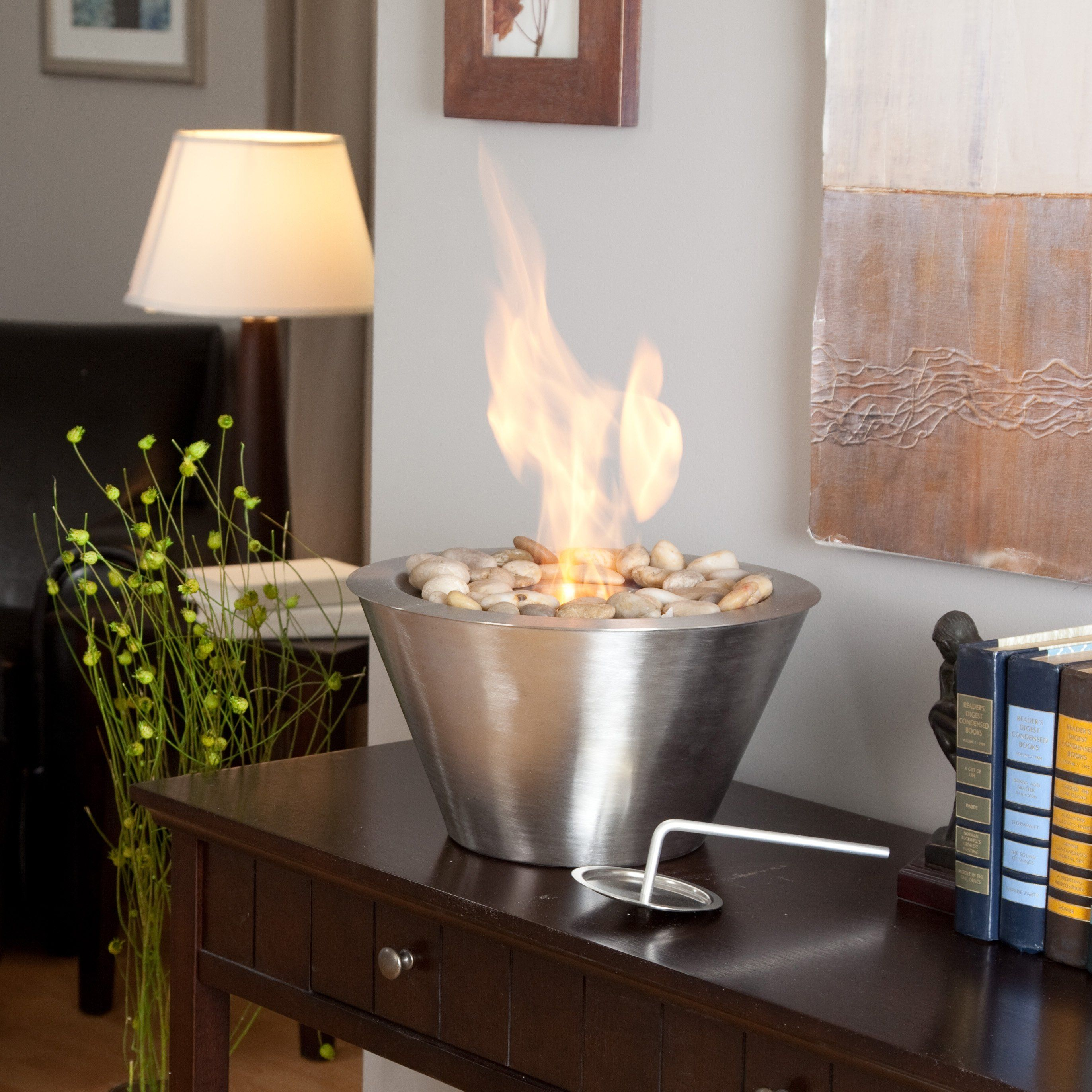 Anywhere Fireplace Oasis Table Top Indoor / Outdoor Fireplace   Enjoy A  Warm, Flickering Fire Anytime, Anywhere With The Anywhere Fireplace Oasis Table  Top ...