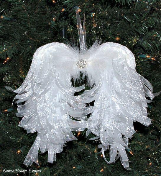 Diy Angelic Organdy Ribbon Angel Wings Christmas Angel Ornaments Christmas Angels Angel Crafts