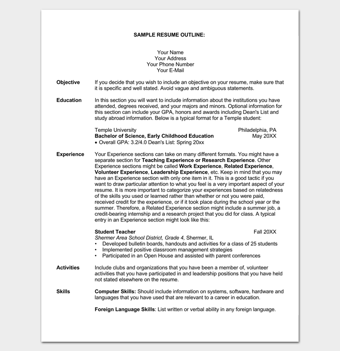 Student Resume Outline Sample  Outline Templates  Create A