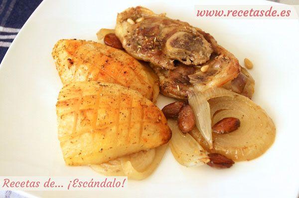 Asado de chuletas de cordero al horno con patatas y almendras recetas de esc ndalo holidays - Chuletas de cordero al horno con patatas ...