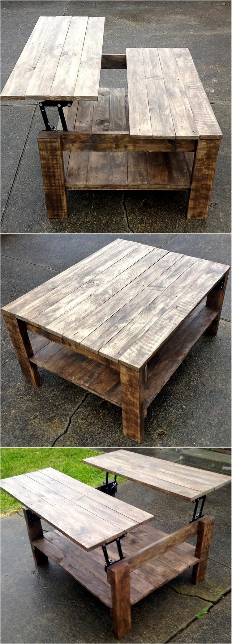 Pallet Double Up Table Furniture Projects Wood Pallet Projects Diy Furniture [ 2083 x 750 Pixel ]