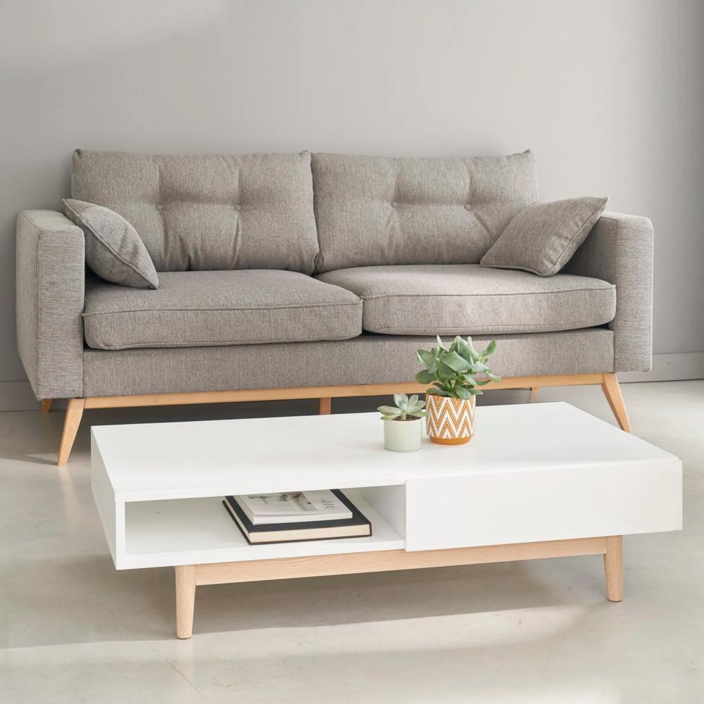Skandinavisches 3 Sitzer Sofa Hellgrau With Images Sofa Scandinavian Style White Coffee Table Living Room Light Gray Sofas