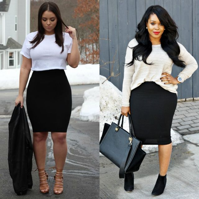 9eb04133f 55 Amazing Outfits With Black Pencil Skirts | Plus Size Outfit Ideas ...