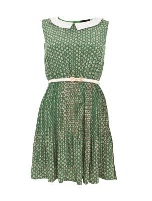Tenki Green Retro Floral Print Peter Pan Collar Dress