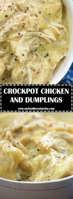 CROCKPOT CHICKEN AND DUMPLINGS - #recipes #healthycrockpotchickenrecipes