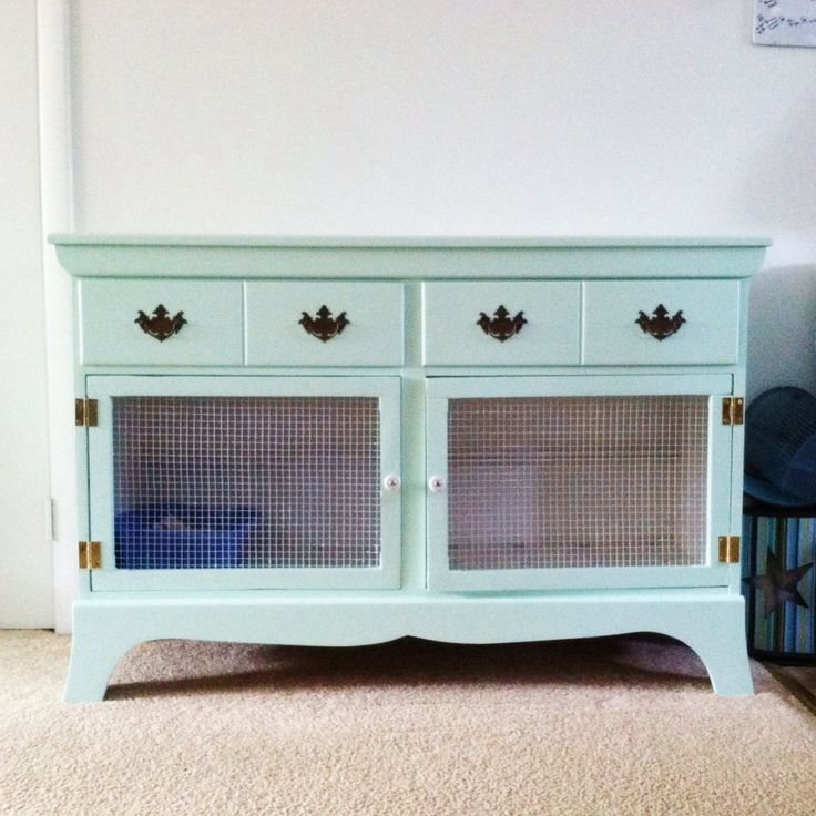 Diy bunny cage old dresser diy rabbit hutch repurposed for Diy guinea pig hutch