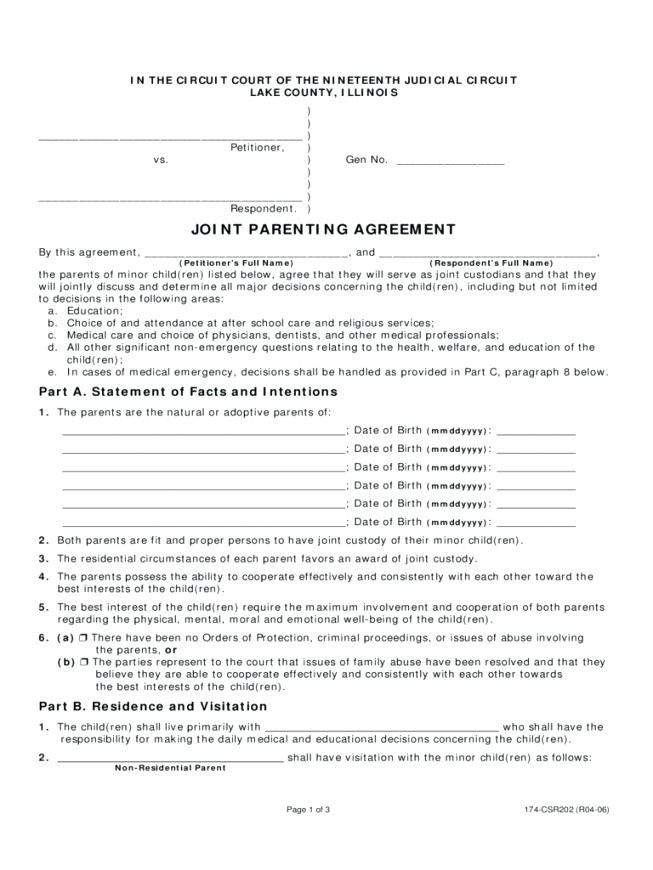 Letter Sample Parenting Agreement Between Mother And