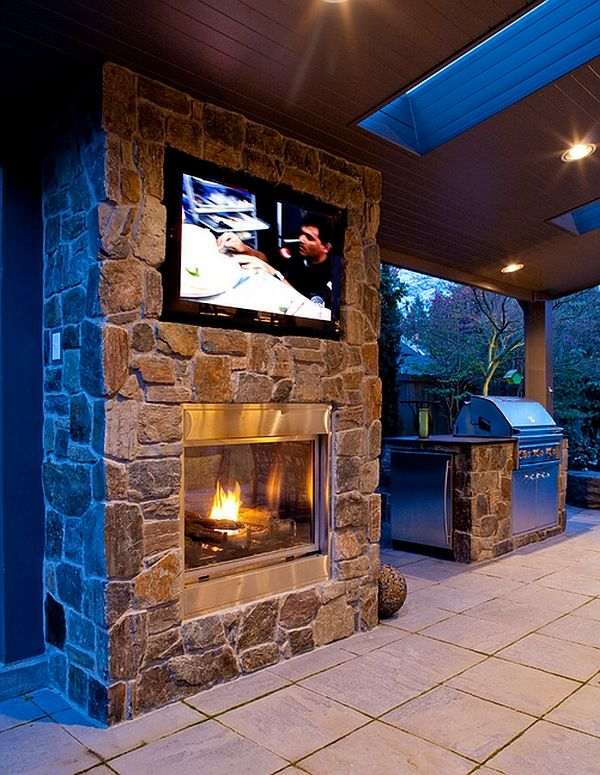 Patio Fireplace Outdoor, Outdoor Patio With Fireplace And Tv