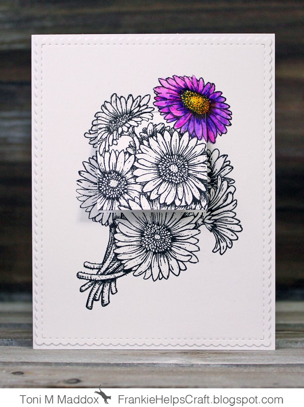 Another card for the Hop to Stop domestic violence . I didn't have time to color all of the blooms so I chose to highlight one and thoug...