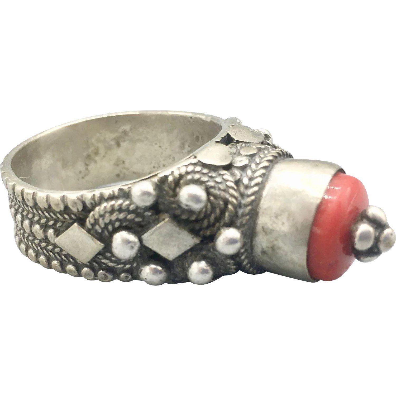 Array - yemenite bedouin badihi ring very large with red coral      rh   pinterest com