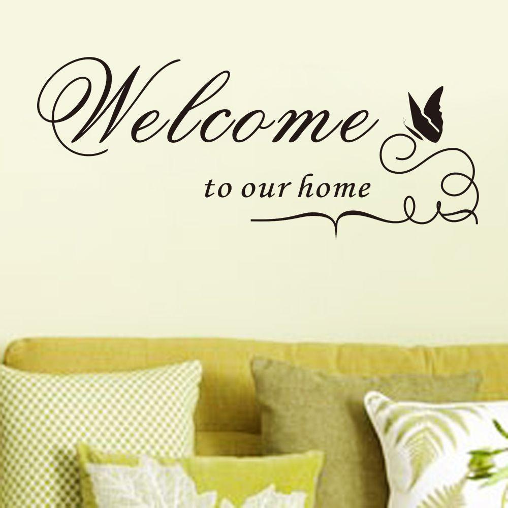 Een mooie muursticker met de tekst Welcome to our home. Leuk voor in ...