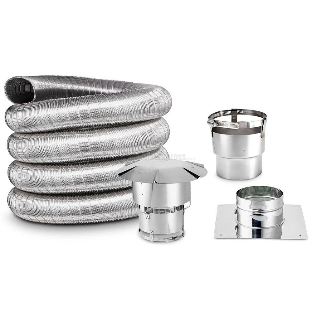 """Kit Includes 4"""" x 35"""" Chimney Liner, Round Chimney Cap, Straight Stove Adapter, and Top Plate"""