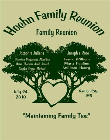 family reunion t-shirts Shirt Info - 2010 Hoehn Family Reunion - family reunion templates