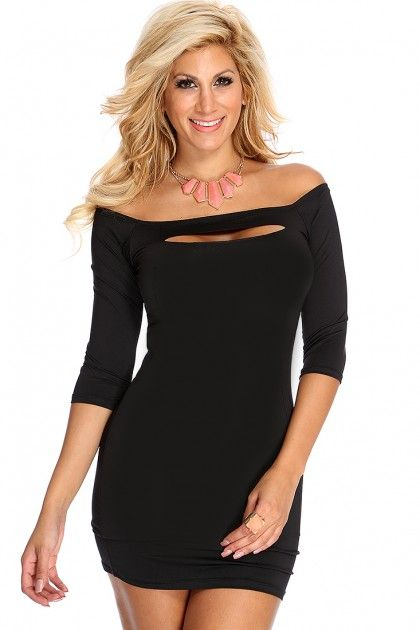 Black Long Sleeve Sexy Party Dress