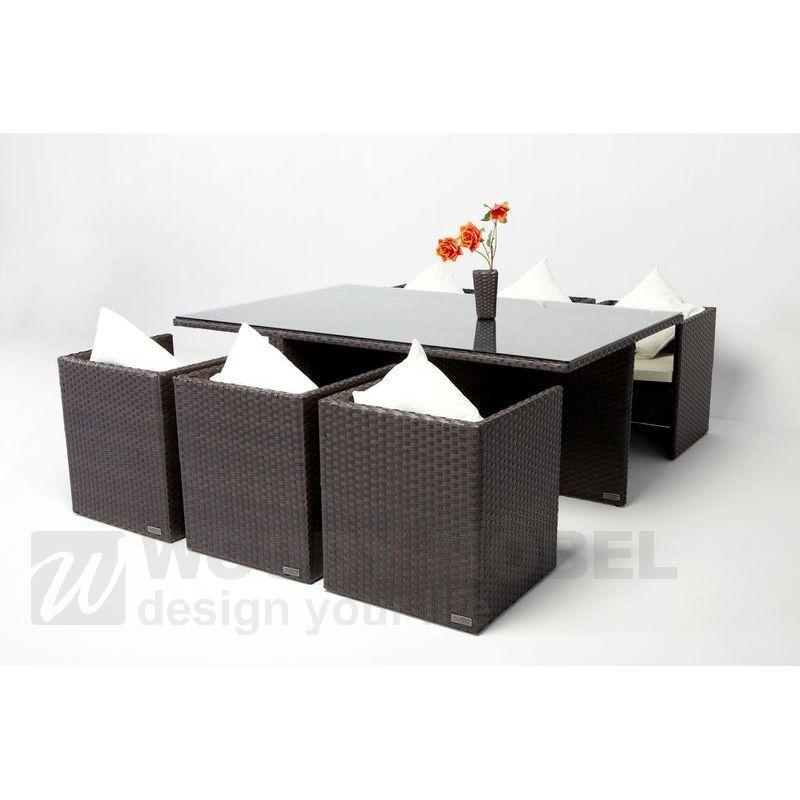 Esstischgruppe Braun Geflecht Woody 122-00046 Aluminium Kunststoff ...