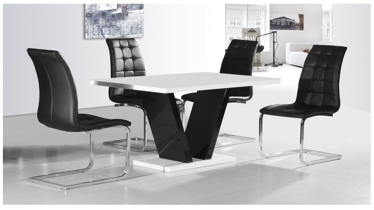 This Stylish Modern White And Black High Gloss Dining Table And Enchanting White Dining Room Table And 6 Chairs Inspiration Design