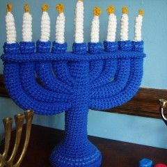 Crochet Hanukkah Menora by Robyn Chachula for Crochettoday (pattern also at Ravelry.com)