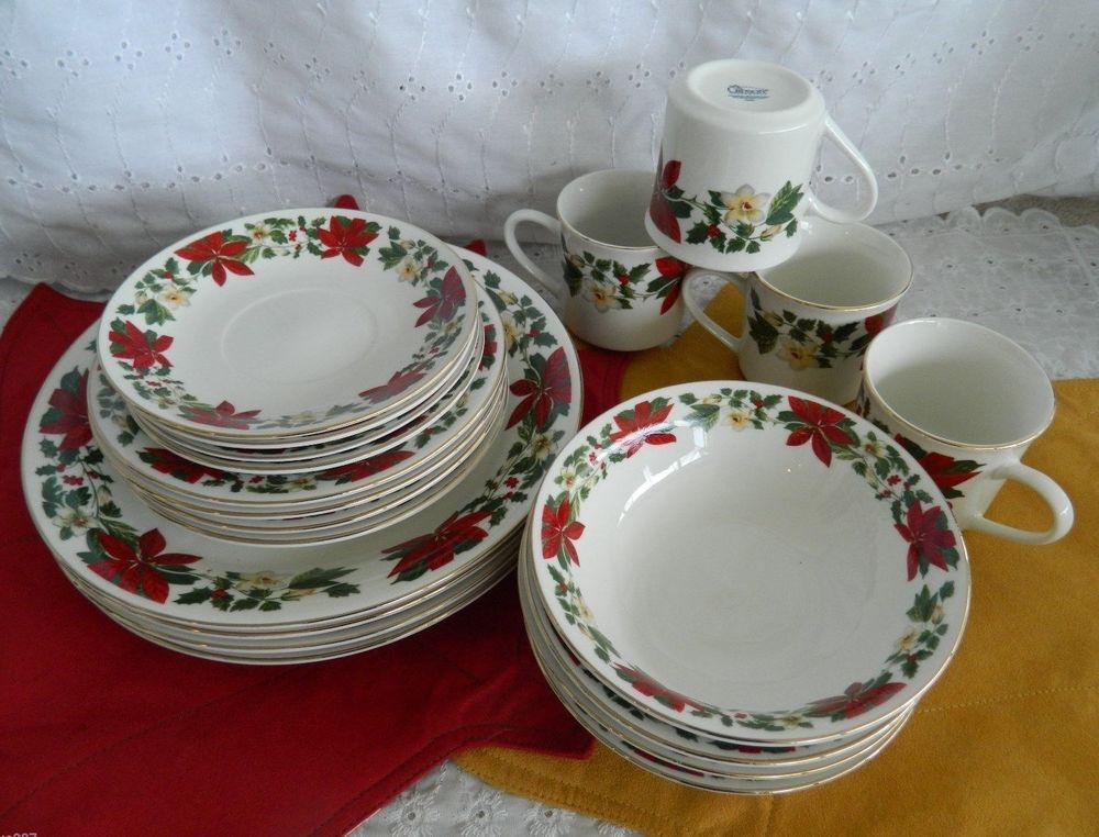 Gibson Poinsettia Holiday 20 Piece Service for 4 Dinnerware Plates Bowls Mugs #Gibson & Gibson Poinsettia Holiday 20 Piece Service for 4 Dinnerware Plates ...