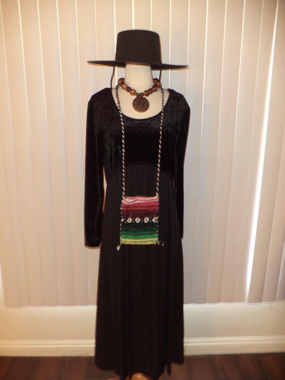 Vtg Boho Hippie Black Velvet Like Gypsy Witch Dress Sz 11/12 ...