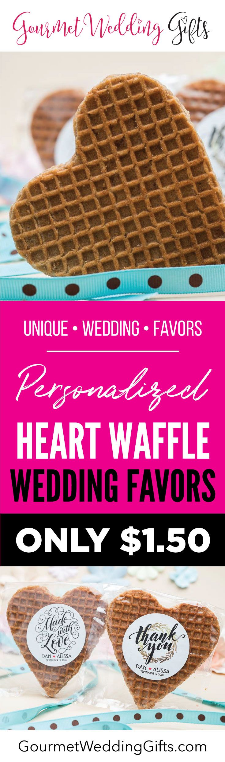Personalized Heart Stroopwafel Wedding Favors | Unique Edible ...