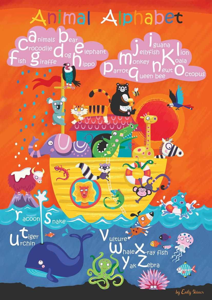 All the animals of the alphabet in one image. Can you spot