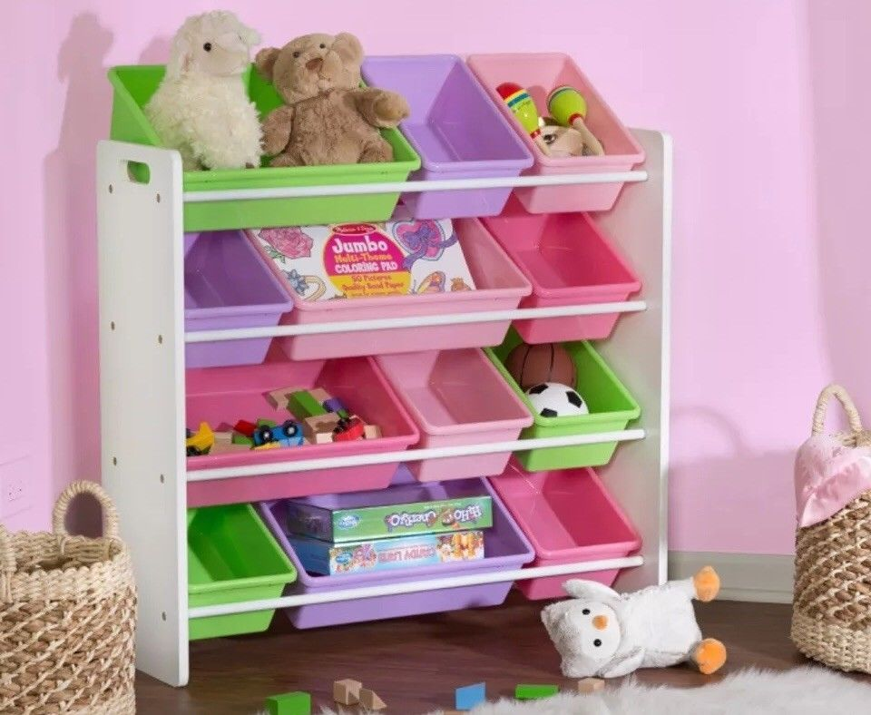 Toy Box Storage Kids Shoe Organizer Toys Bin Girls Bedroom Pink 12 Bins Shoes Ebay Toy Storage Organization Kid Toy Storage Toy Organization