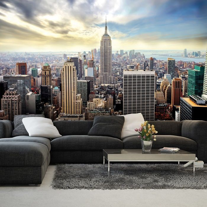 Giant Size Wallpaper Mural For Bedroom And Living Rooms New York Blue Skyline Wall Mural Ideas Express And Worldw City Wallpaper Cool Walls Wallpaper Bedroom