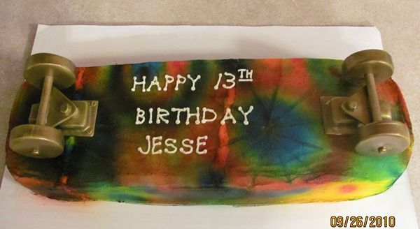 Skateboard Birthday Cake tie dyed inside too! 2010