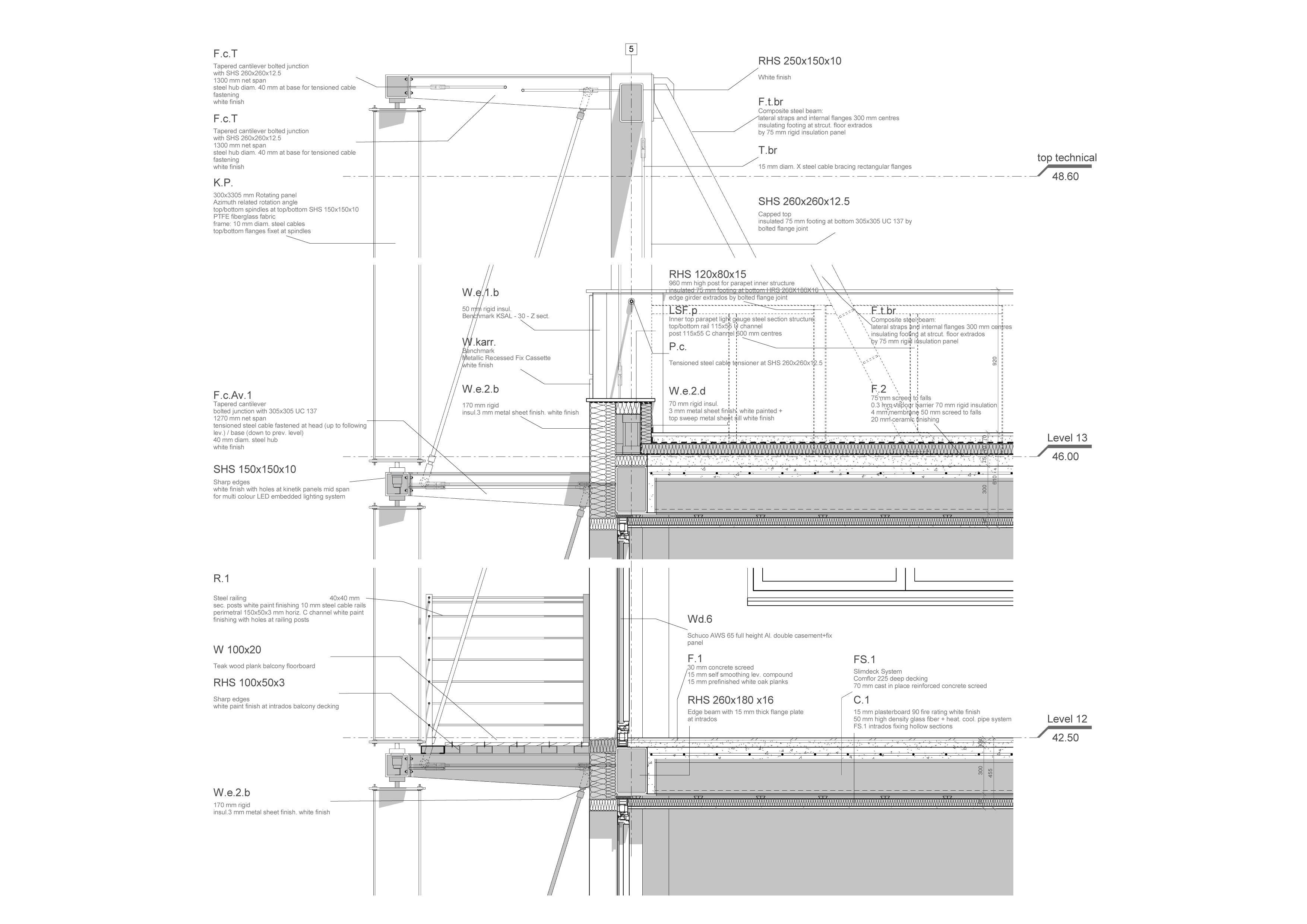 Detail section: rotating PTFE fiberglass fabric panel, embedded led lighting fixtures