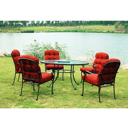mainstays willow springs 6 piece patio dining set red seats 5