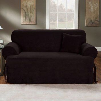 Chezmoi Collection Soft Micro Suede Solid Black T Cushion Couch