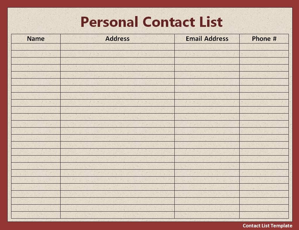 Contact List Templates 25 Free Printable Xlsx Docs Pdf Formats List Template Contact List Mailing List Template