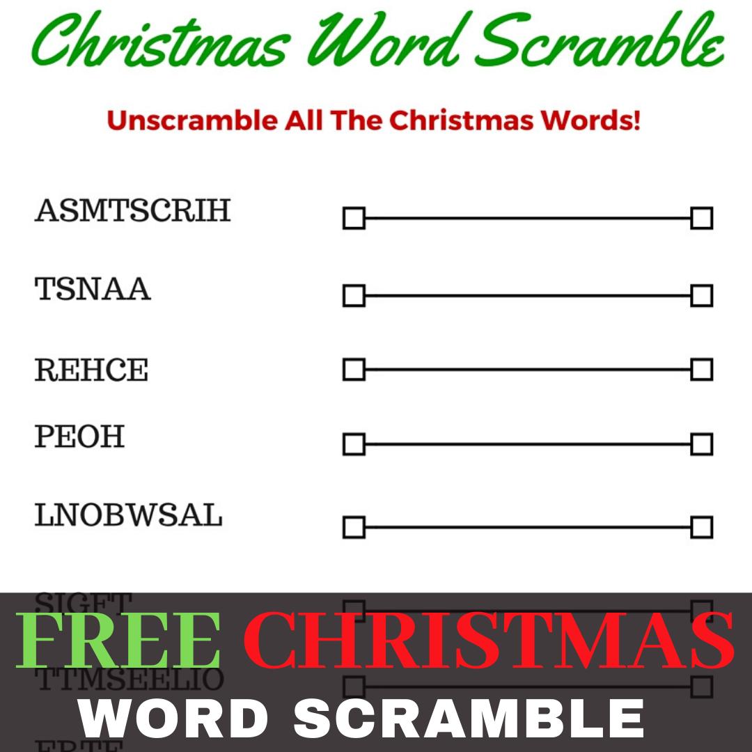 Free Christmas Word Scramble