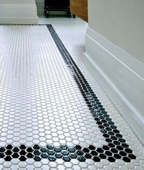 Tiles With Borders: Black Border Mosaic Tiles For The Bathroom Floor