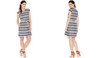 Betsey Johnson Cap-Sleeve Striped Dress