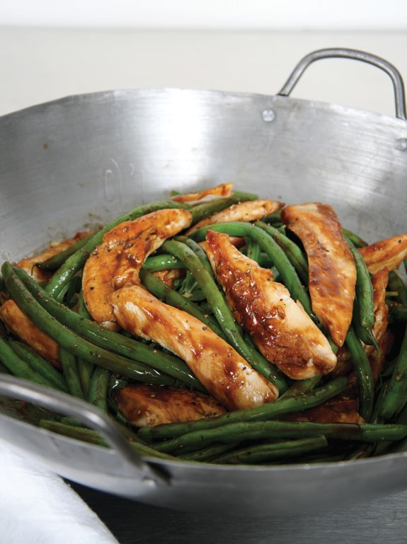 Chicken & green bean stir-fry. Sautee with sesame oil, virgin coconut oil and add a little bit of soy sauce