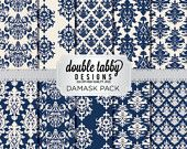 Damask Digital Paper Pack Instant Download Cream and Navy Blue printable DIY scrapbook personal and commercial use