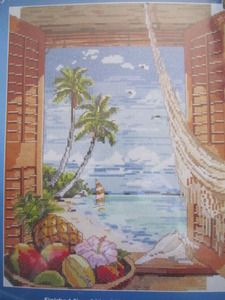 See Sally Sew-Patterns For Less - Tropical Vacation Window Cross Stitch Kit Palm Tree Ocean Fruit Needlework Needlepoint Kit 023-0382, $24.99 (http://stores.seesallysew.com/tropical-vacation-window-cross-stitch-kit-palm-tree-ocean-fruit-needlework-needlepoint-kit-023-0382/)